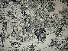 """1.5 yds.Toile de Jouy House Party Toile by House n Home Black & Ivory 26"""" Width"""