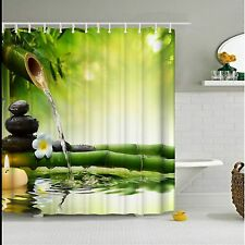 Fabric Bamboo Stone Flower Bathroom Shower Curtain W/Hooks Spa Decor 180x180cm