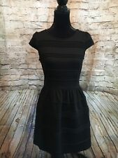 Elle Women's Black Short Sleeve Formal Spring  Knee Length Dress Size 6