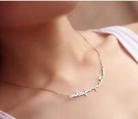 Edelstahl Damen Halskette A KISS FROM U Anhänger Kette Steel Roségold Schmuck