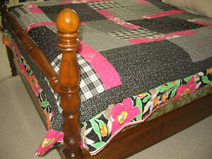 """Handmade Quilt New Full Size 73""""x91"""" Hand Quilted Black White Red Pink Geometric"""