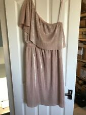Warehouse Ladies Womens Off Shoulder Dress Pinky Beige Size 12 Used