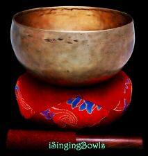 "Antique Tibetan Singing Bowl: Lotus 7 1/2"", ca. 18th Century, G#2 & D4. VIDEO"