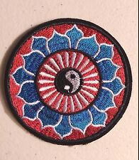 "(H3) YIN YANG LOTUS FLOWER 3"" iron on patch Hindu Retro Boho"