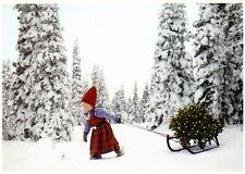 Ansichtskarte: Das Weihnachtsbäumchen wird aus dem Winterwald geholt