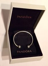Boxed 925 Silver Pandora Moments Open Bangle ft Diamante End Pandora Finials