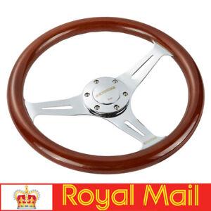 14'' Universal Wooden Steering Wheel Wood Grain Trim Silver Chrome Spoke 350mm