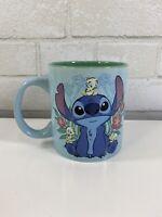 Disney Stitch Floral Baby Ducks Large 20 oz. Blue Coffee Mug NWT