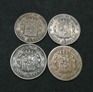Spain Lot Of 4 Bronze 5 Centimos 1878 1879 Good Coins (16)