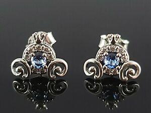 New Pandora Disney Cinderella Princess Pumpkin Coach Blue Silver Stud Earrings