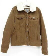 New Levi's Womens Brown Suede Sherpa Trucker Winter Coat Jacket M