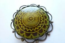 Dekorative antike Brosche in Silber Handarbeit Emailliert