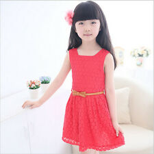 Summer Girl Sleeveless Lace Dress Toddler Kids Baby Princess Party Dresses 9-10T