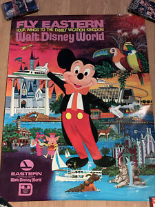 Vintage Original 1977 EASTERN  AIRLINE Disneyland Travel Poster Disney World