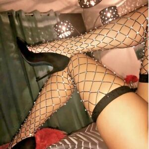 Crystal Embellished  Thigh High Fishnet Stockings