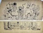 Set of 2 Frederick Burr Opper Cartoon Drawings: Political Comic