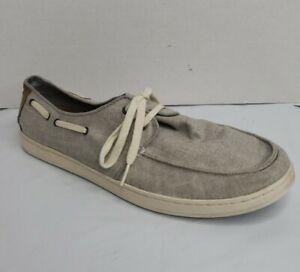 TOMS Culver Lace-Up Sneakers Mens Size 12 Beige Gray Linen Canvas Boat Shoes EUC