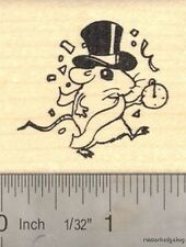 New Year Rat with Hat and Pocket Watch Rubber Stamp E15506