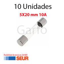10X Fusible Rapido de Vidrio 5X20 mm 10A 250V. Pack 10 Fusibles Cristal