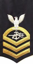 NAVY E7 RATING BADGE: SPECIAL WARFARE OPERATOR - SEAWORTHY GOLD ON BLUE
