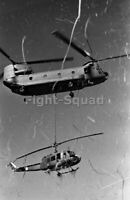 Vietnam War Picture Photo CH-47 Chinook recover UH-1D Huey from paddy field 3271