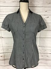 Express Womens Striped Buttoned Front Short Sleeve Shirt Small Petite