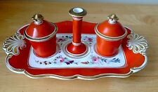 Antique Continental Porcelain Hand Painted Inkstand-Taper Stick Stand & Inkwells
