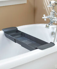 Over The Bathtub Caddy Adjustable Bathroom Organizer Dark Gray Shower Tray Rack