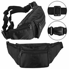 TRAVEL BLACK BUM BAG MONEY WAIST BELT FANNY PACK HOLIDAY FESTIVAL MONEY POUCH UK