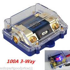 100A 3-Way Car Audio Stereo Fuse Holder/Ground Cable Splitter Distribution BlocK