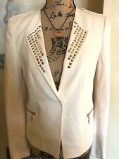 H & M EMBELLISHED JACKET WITH MILITARY FLARE~GOLDTONE RIVETS & ZIPPERS~ US 8