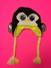 NWT JUSTICE GIRLS  CRITTER EARFLAP HAT PENGUIN  ONE SIZE BRAID SEQUIN EYES BLACK
