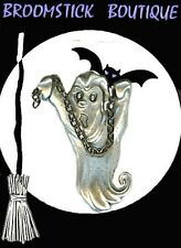 Halloween Ghost With Moving Chain Vintage Brooch Pin, Antique Silver Plated, NEW