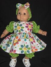 """Easter Egg & Chick Dress Headband & Pants 15"""" Doll Clothes Made ToFit Bitty Baby"""