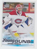 19/20 UD...CAYDEN PRIMEAU...YOUNG GUNS...ROOKIE...CARD # 454...CANADIENS
