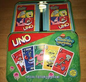 Spongebob Squarepants UNO Special Edition Card Game Collectors Tin 2002 Complete