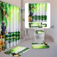 Bamboo Waterproof Bathroom Shower Curtain Toilet Cover Bath Mat Non-Slip Rug Set