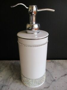 Bella Lux White Ceramic Rhinestones Liquid SOAP DISPENSER PUMP Silver New