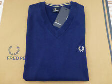 Fred Perry K9517 Jumper Tipped V-neck Size L Grey Merino Wool Top
