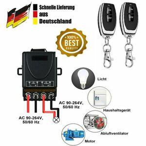 Wireless Licht Schalter 30-70m Funkschalter mit 2 Fernbedienung 230V AC 2000W DE