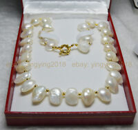 """NEW RARE WHITE TEARDROP BAROQUE CULTURED PEARL 13X18MM NECKLACE 18/"""" JEWELRY BOX"""