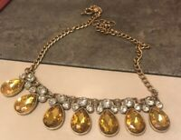 J Crew Golden  Tear Drop With Clear Stones Necklace