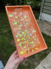Handmade Decorative Bright Orange Glittery Resin Tray