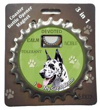 E&S Pets I Love My Great Dane 3 in 1 Bottle Ninja Opener Coaster Magnet New Es