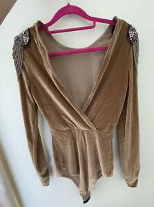 Amazing BODY TOP Gold Brown Velvet Bodysuit Beaded Fashion Size 8-10 burlesque