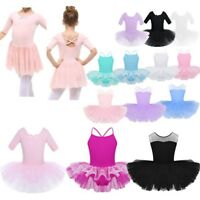 Girls Ballet Dance Dress Kids Cotton Gymnastics Leotard Tutu Dancewear Costume