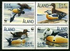 Aland 2001 Birds, Endangered Species, Stellers, Eider Ducks Block of 4 UNM / MNH