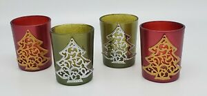 GANZ *Set of 4* Glass Tea Light Candle Holders, Red, Gold & Green, Silver Trees
