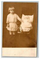 Vintage Early 1900's RPPC Child and Baby in Stroller Studio Portrait UNPOSTED