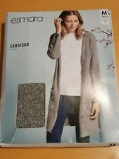 Esmara Gris Fluffy Largo Recto Corte CARDIGAN SIZE UK M 14/16 UE 40/42 BNWT